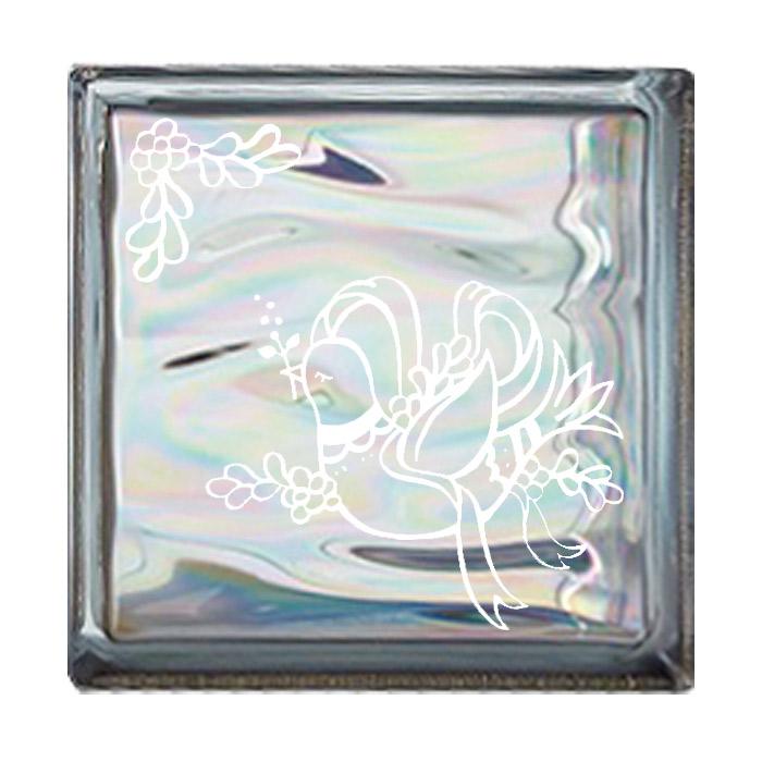 ガラスブロック 屋外壁 間仕切壁 壁飾り 日本 デザインガラスブロック 柄:鳩 色:ウェービーグレー 1個単位 190×190×80mm リフォーム 新築 DIY アプローチ