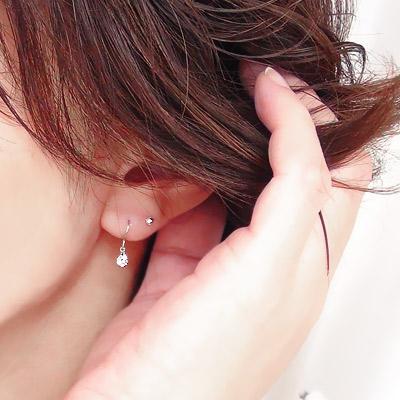 單顆金剛石耳環鐳射大廳 0.30 ct pt900 接龍鉑 900 美國鉤耳環女士 824 樂天卡司