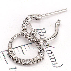 Earrings diamond 0.10 ct pt900 Platinum 900 eternity hoop ladies