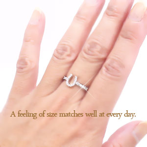 Diamond Horseshoe ring Platinum 900 (PT900) 0.20 ct Horseshoe charm lucky charms pinky pinky ring midring Falange ring ring women's popular first-