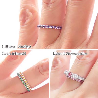 Half Eternity Ring 18 Kg Birth Stone Gold K18 Pinky Finger Por First Las Gemstone