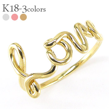 18 k gold ring love k18 gold wire art letter letters love gifts ladies j ely
