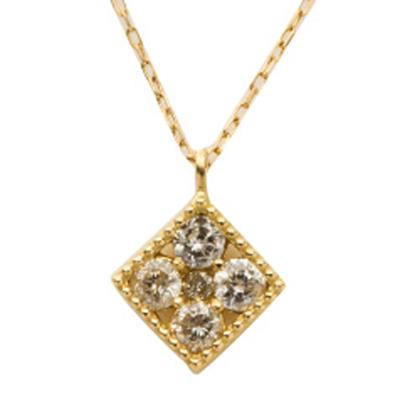 【送料無料/あす楽】【K18イエローゴールド】 ダイヤモンド ネックレス ダイヤ 0.2ct ミル ペンダント18金 イエローゴールド レディース ジュエリー アクセサリー プレゼント ギフト