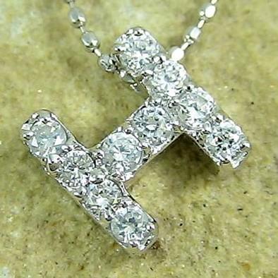 【あす楽/送料無料】イニシャルネックレス'H' ダイヤモンドプラチナ900 pt900アルファベットH