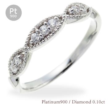 ピンキーリング ダイヤモンドリング 0.10ct プラチナ900 指輪 レディース アクセ アクセサリー【送料無料】【コンビニ受取対応商品】