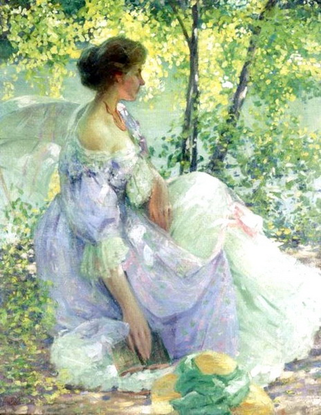 油絵 Richard Edward Miller_ 庭園にて