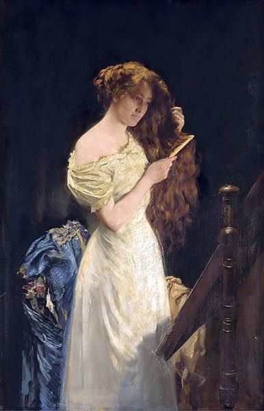油絵 Thomas Benjamin Kennington_髪をとかす女
