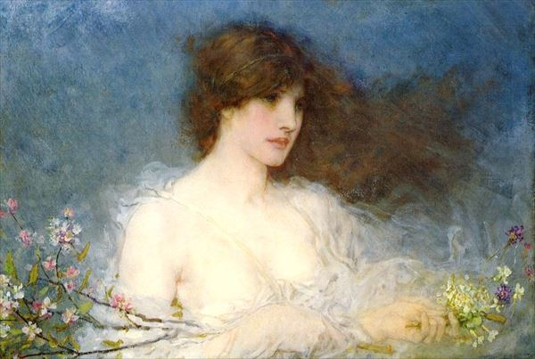 油絵 George Henry Boughton_春の牧歌