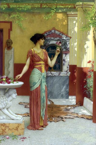 油絵 John William Godward_ブーケ