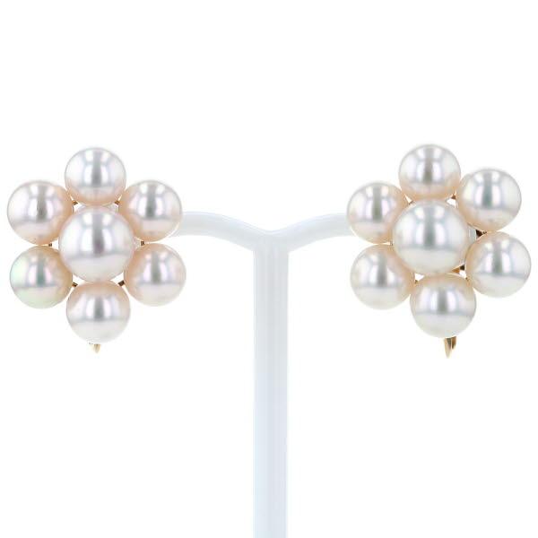 K18YG イエローゴールド 優先配送 イヤリング ネジ式 真珠 パール6.3mm 花 フラワー 大ぶり el 植物 超人気 中古 デザイン 新品仕上済 送料無料