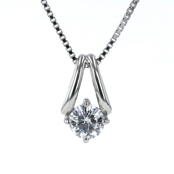 国内在庫 Pt900 Pt850 プラチナ ネックレス 10%OFF ダイヤモンド 0.306ct 一粒石 シンプル 鑑定書付き 40cm 新品仕上済 zz 中古 ベネチアンチェーン 送料無料