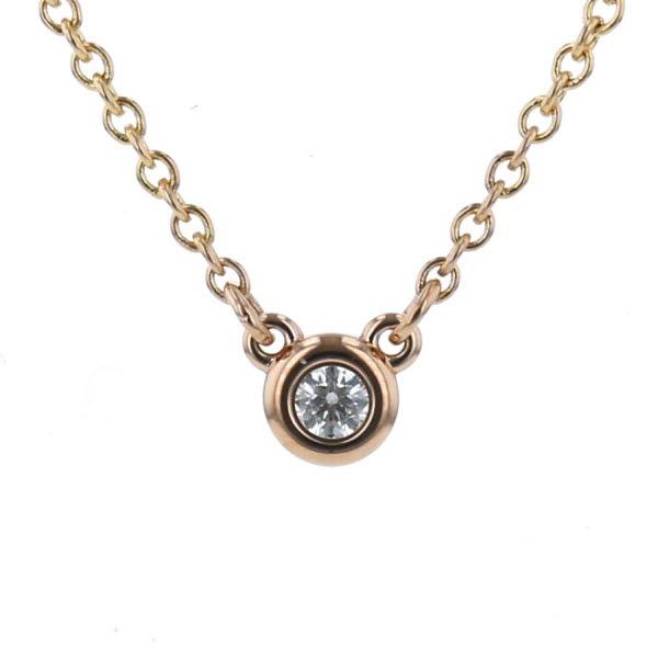 TIFFANY&Co. ティファニー K18PG ピンクゴールド ネックレス バイザヤード ダイヤモンド 一粒 1P デザイン 40.5 【新品仕上済】【zz】【中古】
