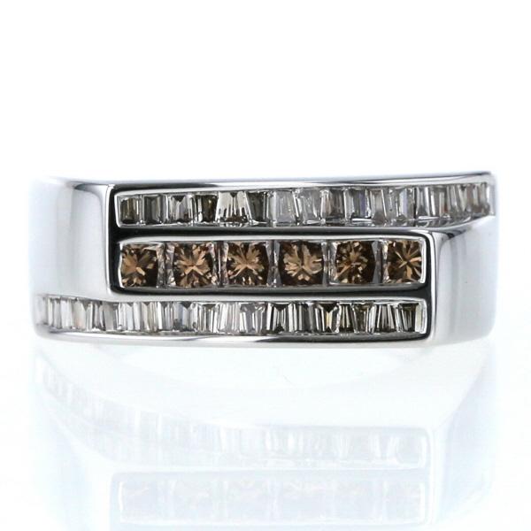 QVC K18WG 新商品!新型 ホワイトゴールド リング ダイヤモンド 日本製 0.82ct 3連 三文字 指輪 トリプル シンプル zz 中古 12号 新品仕上済 送料無料