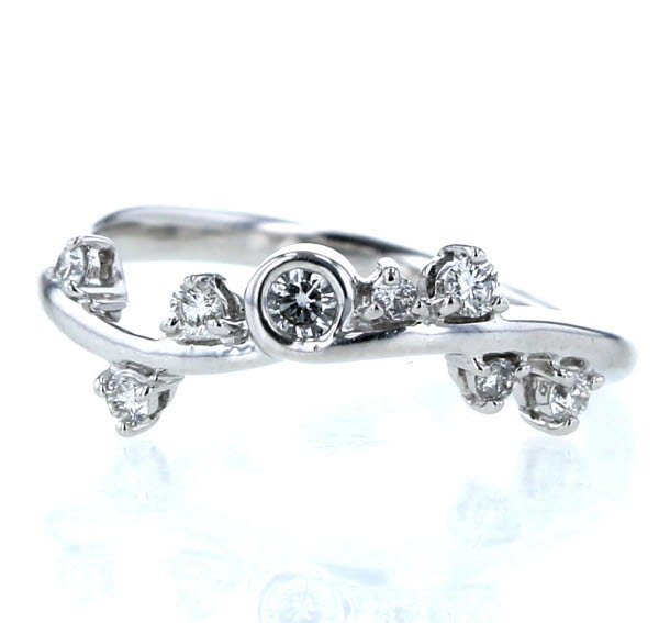 K18WG ホワイトゴールド リング ダイヤモンド 0.22ct 植物 蔓 ウェーブ 指輪 15号 【新品仕上済】【zz】【中古】