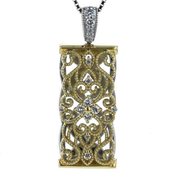 K18YGPt900 イエローゴールド プラチナ ネックレス リバーシブル ダイヤモンド 0.27ct ミル打ち レース 花 45cm 【新品仕上済】【zz】【中古】