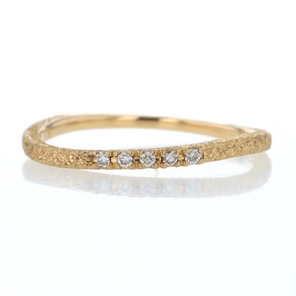 4℃ ヨンドシー K18YG イエローゴールド リング ダイヤモンド 5粒 高級な ウェーブ シンプル 指輪 中古 el 新品仕上済 メーカー直送 スターダスト加工 つや消し 7号