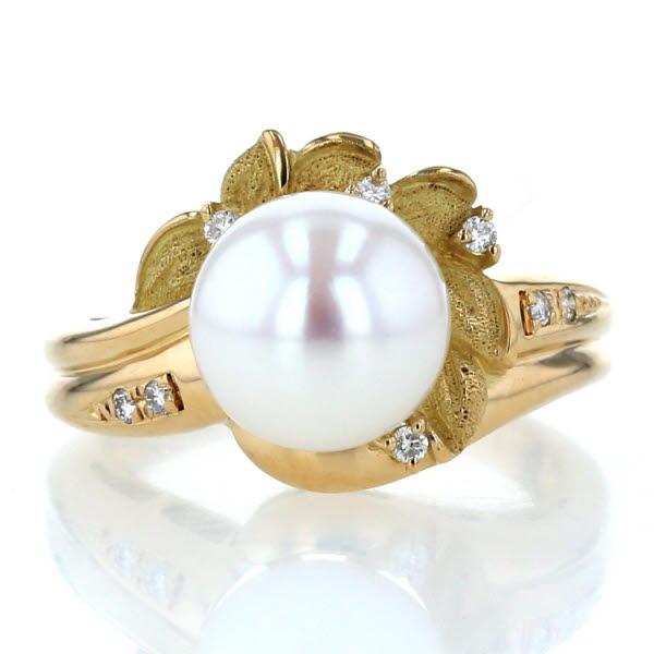 K18YG ディスカウント イエローゴールド リング パール 送料無料お手入れ要らず 真珠9.1mm ダイヤモンド0.07ct 花 フラワー zz 指輪 10.5号 新品仕上済 中古