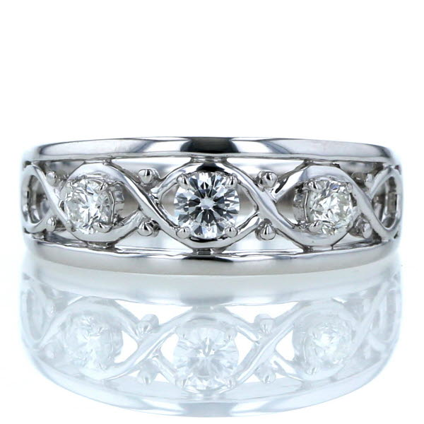 VERITE TRILOGY ベリテ トリロジー K18WG ホワイトゴールド リング ダイヤモンド0.40ct 3石 クロス 透かし 指輪 17.5号【新品仕上済】【zz】【中古】