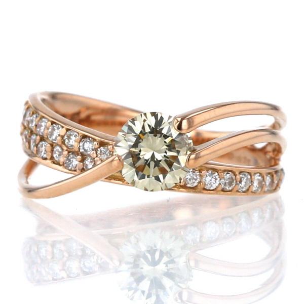 K18PG ピンクゴールド リング トラスト ダイヤモンド 0.625ct 0.23ct クロス 10号 別倉庫からの配送 新品仕上済 zz 中古 指輪 インフィニティ 鑑定書付き