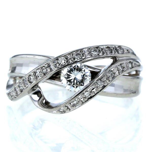 セイコー SEIKO Pt900 プラチナ リング ダイヤモンド 0.310ct/0.11ct クロスウエーブ モザイクカット 指輪 12号【新品仕上済】【zz】【中古】