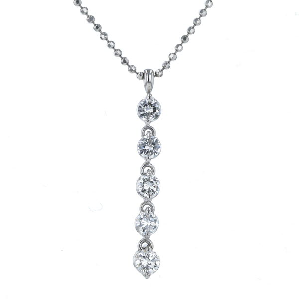 Pt850 Pt900 テレビで話題 プラチナ ネックレス ダイヤモンド 0.710ct ボール チェーン af 人気 おすすめ 新品仕上済 デザイン 中古 45cm ライン