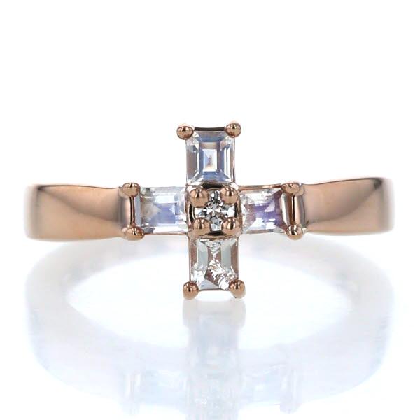 4℃ ヨンドシー K18PG ピンクゴールド リング ダイヤモンド ブルームーンストーン クロス 十字架 指輪 12号【新品仕上済】【zz】【中古】
