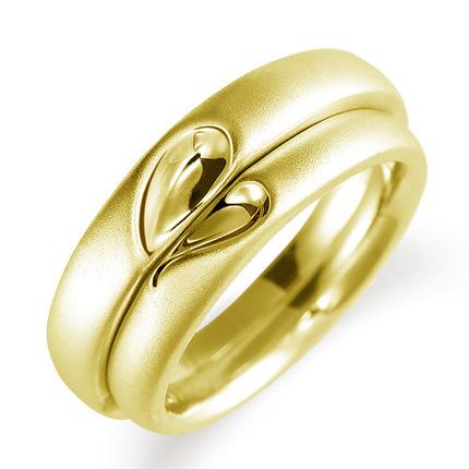 ペアリング(2本セット) 結婚指輪 マリッジリング 結婚記念 K18イエローゴールド 二人のリングが合わせるとハート模様 《Lelier M0100》 【刻印無料 ケース付き 送料無料】 【A】