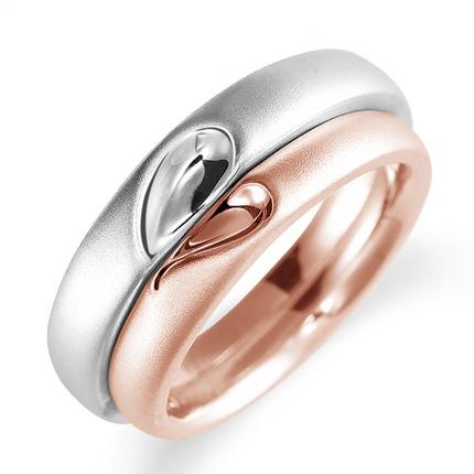 ペアリング(2本セット) 結婚指輪 マリッジリング プラチナ900&K18ピンクゴールド 二人のリングが合わせるとハート模様 《Lelier M0100》 【刻印無料 ケース付き 送料無料】 【A】