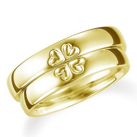 ペアリング(2本セット) 結婚指輪 マリッジリング K18イエローゴールド 二つのリングを合わせると四葉のクローバー 《Lelier M0709》 【刻印無料 ケース付き 送料無料】 【A】