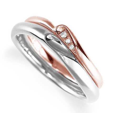 ペアリング(2本セット) 結婚指輪 マリッジリング プラチナ900&K18ピンクゴールド 合わせるとハート模様 ダイヤモンドリング 《Lelier M0867》 【刻印無料 ケース付き 送料無料】 【B】