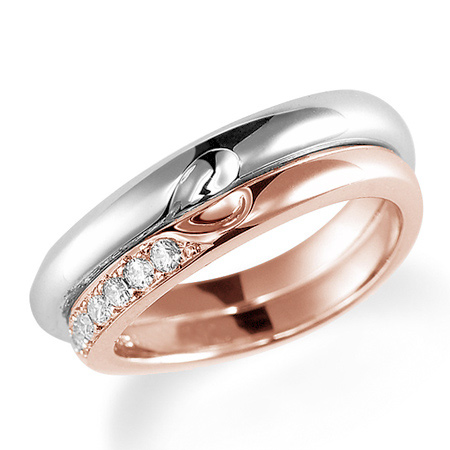 ペアリング(2本セット) 結婚指輪 マリッジリング プラチナ900&K18ピンクゴールド 合わせるとハート模様 ダイヤモンドリング 《Lelier M0831》 【刻印無料 ケース付き 送料無料】 【A】