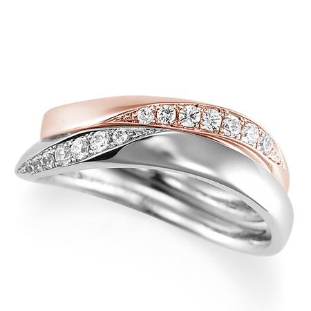 ペアリング(2本セット) 結婚指輪 マリッジリング 結婚記念 プラチナ900&K18ピンクゴールド ダイヤモンドリング 《Lelier M2095》 【刻印無料 ケース付き 送料無料】 【B】