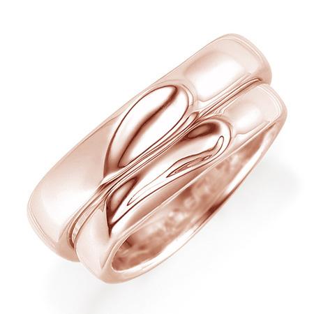 M0967》 送料無料】 【刻印無料 マリッジリング ペアリング(2本セット) 結婚記念 《Lelier K18ピンクゴールド 結婚指輪 ケース付き 二人のリングを合わせるとハート模様