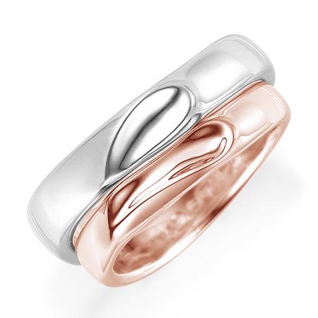ペアリング(2本セット) 結婚指輪 マリッジリング プラチナ900&K18ピンクゴールド 二人のリングを合わせるとハート模様 《Lelier M0967》 【刻印無料 ケース付き 送料無料】 【A】