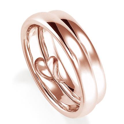 ペアリング(2本セット) 結婚指輪 マリッジリング 結婚記念 K18ピンクゴールド 二人のリングが合わせるとハート模様 《Lelier M0555》 【刻印無料 ケース付き 送料無料】 【A】