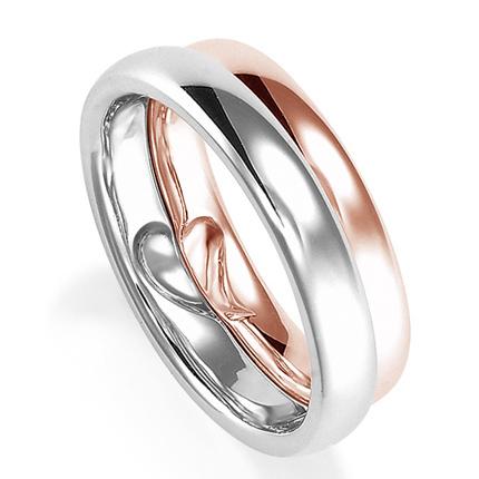 ペアリング(2本セット) 結婚指輪 マリッジリング プラチナ900&K18ピンクゴールド 二人のリングが合わせるとハート模様 《Lelier M0555》 【刻印無料 ケース付き 送料無料】 【A】