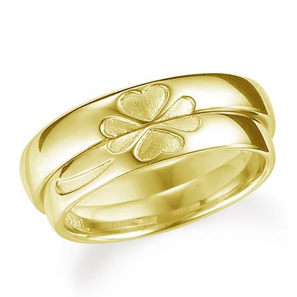 ペアリング(2本セット) 結婚指輪 マリッジリング 結婚記念 K18イエローゴールド 合わせると四葉のクローバー 《Lelier M0509》 【刻印無料 ケース付き 送料無料】 【A】