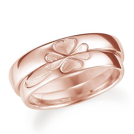 ペアリング(2本セット) 結婚指輪 マリッジリング 結婚記念 K18ピンクゴールド 合わせると四葉のクローバー 《Lelier M0509》 【刻印無料 ケース付き 送料無料】 【A】