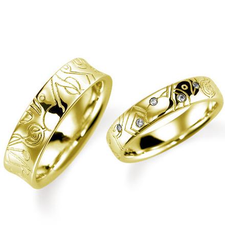 ペアリング(2本セット) 結婚指輪 マリッジリング 結婚記念 K18イエローゴールド ダイヤモンドリング 《Lelier M0984》 【刻印無料 ケース付き 送料無料】 【0420】