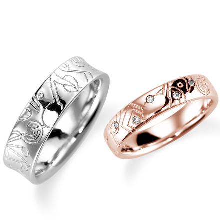 ペアリング(2本セット) 結婚指輪 マリッジリング 結婚記念 プラチナ900&K18ピンクゴールド ダイヤモンドリング 《Lelier M0984》 【刻印無料 ケース付き 送料無料】 【A】