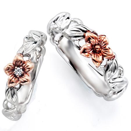 ペアリング(2本セット) 結婚指輪 マリッジリング ハワイアンジュエリー 結婚記念 プラチナ900/K18ピンクゴールド ダイヤモンドリング 《NaniKii M0726V》 【刻印無料 ケース付き 送料無料】 【A】