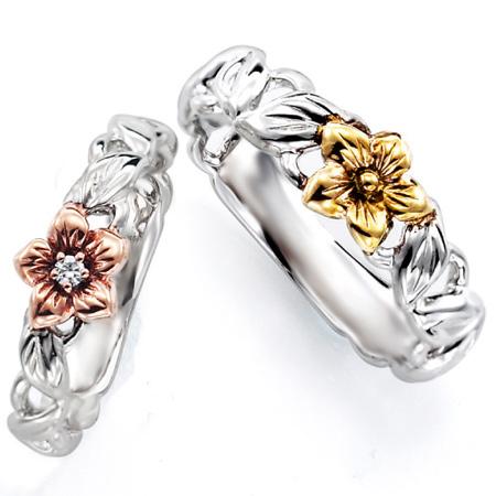 ペアリング(2本セット) 結婚指輪 マリッジリング ハワイアンジュエリー プラチナ900/K18ピンク&イエローゴールド ダイヤモンドリング 《NaniKii M0726V》 【刻印無料 ケース付き 送料無料】 【A】