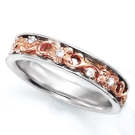 ペアリング(女性用) 結婚指輪 マリッジリング ハワイアンジュエリー 結婚記念 プラチナ900/K18ピンクゴールド ダイヤモンドリング 《NaniKii M0728V》 【刻印無料 ケース付き 送料無料】 【A】