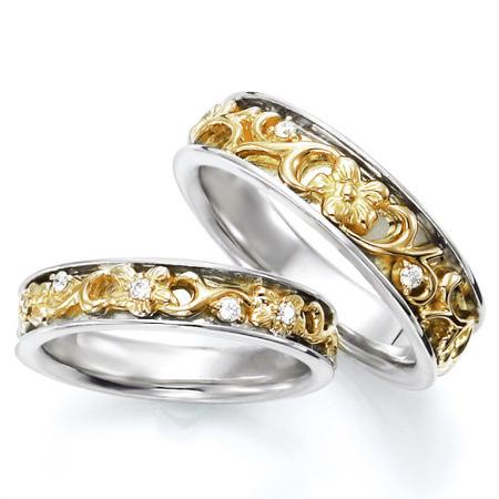 ペアリング(2本セット) 結婚指輪 マリッジリング ハワイアンジュエリー 結婚記念 K18ホワイトゴールド&イエローゴールド ダイヤモンドリング 《NaniKii M0728V》 【刻印無料 ケース付き 送料無料】 【RCP】 【532P17Sep16】