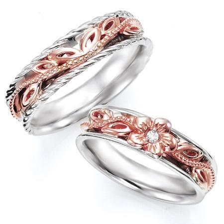 ペアリング(2本セット) 結婚指輪 マリッジリング ハワイアンジュエリー 結婚記念 プラチナ900/K18ピンクゴールド ダイヤモンドリング《NaniKii M0733V》 【刻印無料 ケース付き 送料無料】 【B】