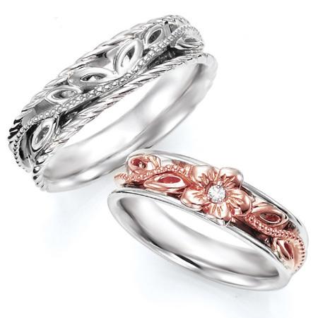ペアリング(2本セット) 結婚指輪 マリッジリング ハワイアンジュエリー 結婚記念 プラチナ900/K18ピンクゴールド ダイヤモンドリング《NaniKii M0733V》 【刻印無料 ケース付き 送料無料】 【A】