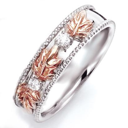 ペアリング(女性用) 結婚指輪 マリッジリング ハワイアンジュエリー 結婚記念 K18ホワイトゴールド/ピンクゴールド ダイヤモンドリング 《NaniKii M0735V》 【刻印無料 ケース付き 送料無料】 【514】