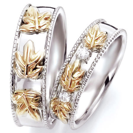 ペアリング(2本セット) 結婚指輪 マリッジリング ハワイアンジュエリー 結婚記念 プラチナ900/K18イエローゴールド ダイヤモンドリング 《NaniKii M0735V》 【刻印無料 ケース付き 送料無料】 【A】