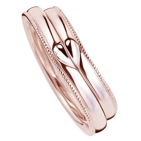 ペアリング(2本セット) 結婚指輪 マリッジリング 結婚記念 K18ピンクゴールド ミル打ち加工 ふたつを合せるとハート模様 《M2227》 【刻印無料 ケース付き 送料無料】 【B】