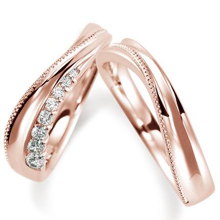 ペアリング(2本セット) 結婚指輪 マリッジリング 結婚記念 K18ピンクゴールド ダイヤモンドリング 《Nourish M0846》 【刻印無料ケース付き 送料無料】 【A】
